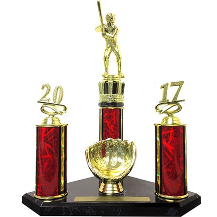 CLOSEOUT BASEBALL TROPHY - BLACK MARBLE