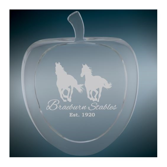 custom apple-shaped crystal gift with laser engraving