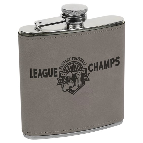 a silver/black stainess steel flask with space to customize in the middle