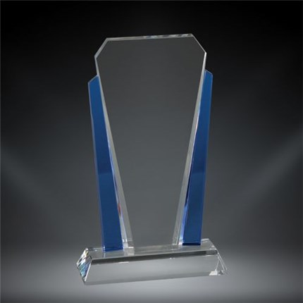 Custom crystal recognition award with blue siding and personalized engraving
