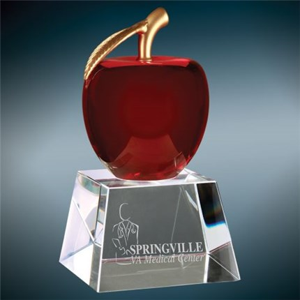 Red Apple Crystal award on clear crystal base with custom engraving