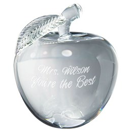 3-D crystal gift with custom engraving for teachers