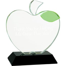 apple on base custom engraved crystal award