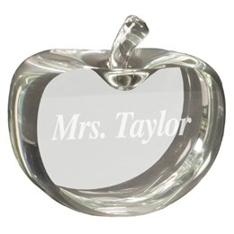 Hand blown crystal apple for teacher's gift with custom engraving