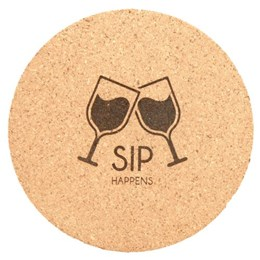 "4"" cork coaster with laser engraved wine glasses"