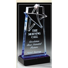 Custom recognition award with laser engraving and blue tint