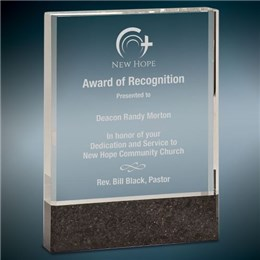 Clear crystal recognition award with engraving and logo laser engraving