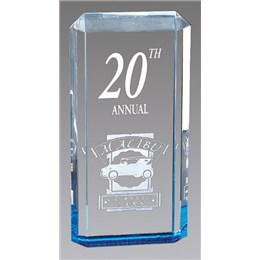 Custom acrylic recognition award with engraved logo and text