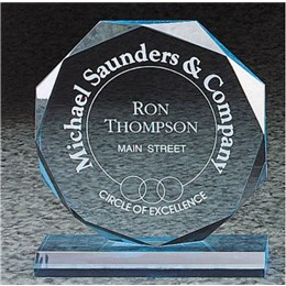 Octagon-shaped recognition award with custom laser engraving