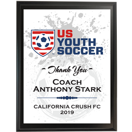 US Youth Soccer Plaque for Coaches of USYS