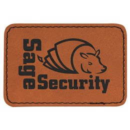 "An rectangle orange leatherate path that has a cartoon like bull in the middle with lttering surround it. The lettering states ""Sage Security""."