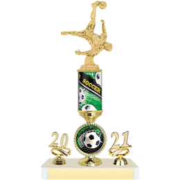Green Single Column Soccer Trophy with Logo and Year