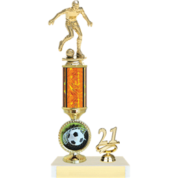 Orange Single Column Soccer Trophy with Logo
