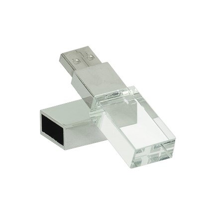 GLASS 8GB USB FLASH DRIVE WITH WHITE LED