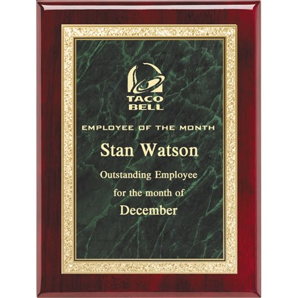 Plaque Award - Rosewood with Green Marble