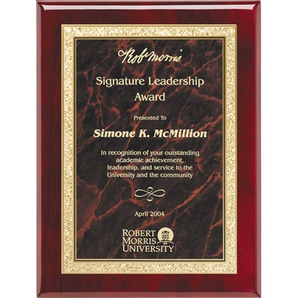 Plaque Award - Rosewood Mount with Red Marble