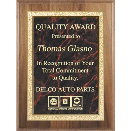 Walnut Finish And Marble Plate Plaque Series - Traditional