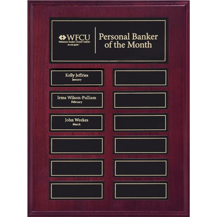 Mahogany Finish Pocket Perpetual Plaque Series