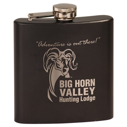 Matte Black Laserable Stainless Steel Flask