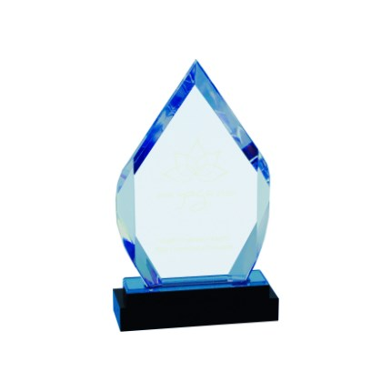 Blue Diamond Acrylic Award with Black Glass Base