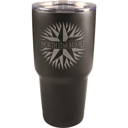 30 oz. LASERABLE BLACK TRAVEL MUG