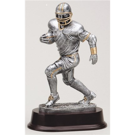 Football Statue - Antique Action Series - Silver