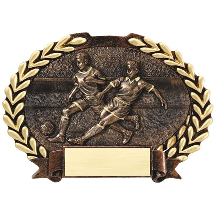 BRONZE OVAL PLATE RESIN SERIES - SOCCER