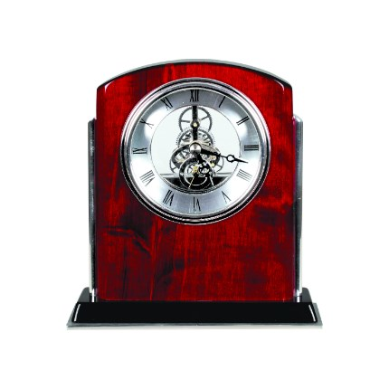 ROSEWOOD PIANO FINISH ARCH CLOCKS