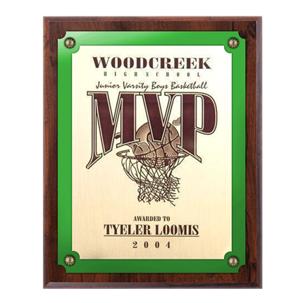 VL100 SERIES - WALNUT FINISH PLAQUE