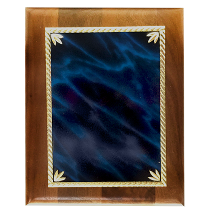LASER BLUE MARBLE WALNUT PLAQUE