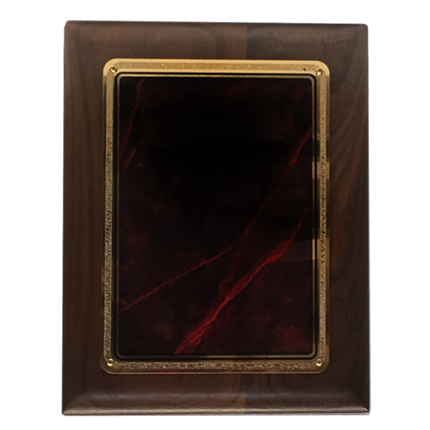 LASER RED MARBLE WALNUT PLAQUE