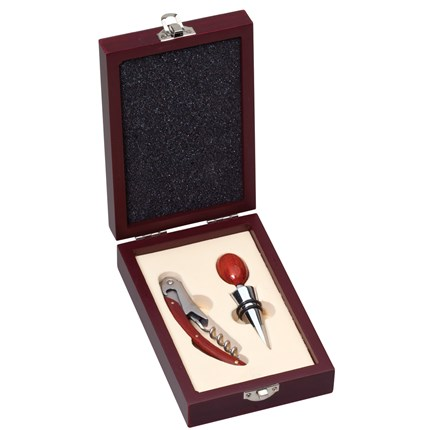 WINE ACCESSORIES 2 PIECE PRESENTATION SET - ROSEWOOD